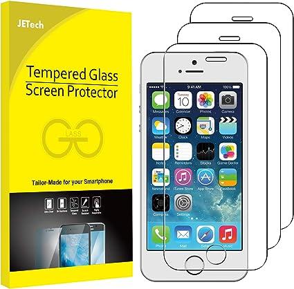 JETech Protector de Pantalla Compatible Apple iPhone SE (Edición 2016), iPhone 5s, iPhone 5 y iPhone 5c, Vidrio Templado, 3 Unidades: Amazon.es: Electrónica
