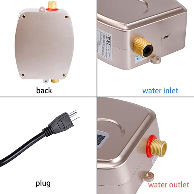 Electric Tankless Water Heater Gold 3000W Mini Instant Thermostatic Hot Water Heater for Bathroom Kitchen Sink Leakage Protection and LCD Digital Display US Plug 110V