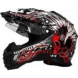 Motorradhelm MX Enduro Quad Helm Schwarz Rot mit Visier und Sonnenblende Gr. M