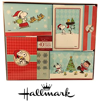 40 hallmark peanuts christmas cards in oversized box charlie brown snoopy woodstock