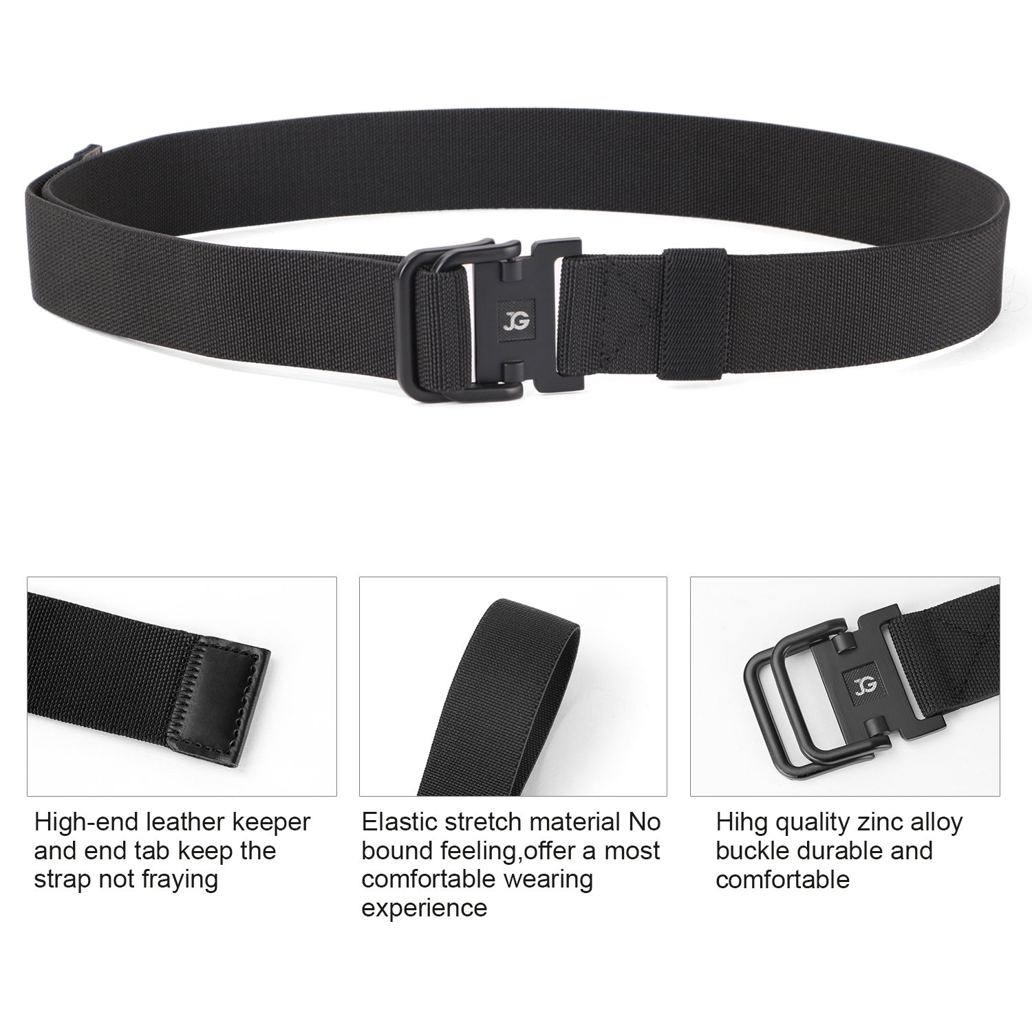 Men's Elastic Stretch Nylon web Jeans Belt Outdoor Casual Belt with Solid Adjustable Buckle By JASGOOD (Suitable for pant size below 40