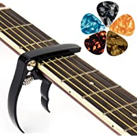 kmise Guitar Capo Guitar Accessories Trigger Capo with 6 Free Guitar Picks for Acoustic and Electric Guitars - Also Quick Change Ukulele & Banjo Capos (Black)