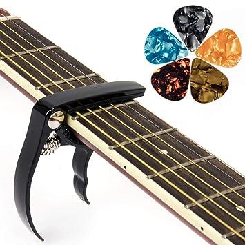Kmise Capo - Cejilla para guitarra acústica eléctrica, ukelele banjo con 6 púas gratis