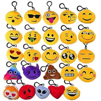 BCMRUN Mini Emoji llavero, 2 Bella Emoji Peluche Cojín ...