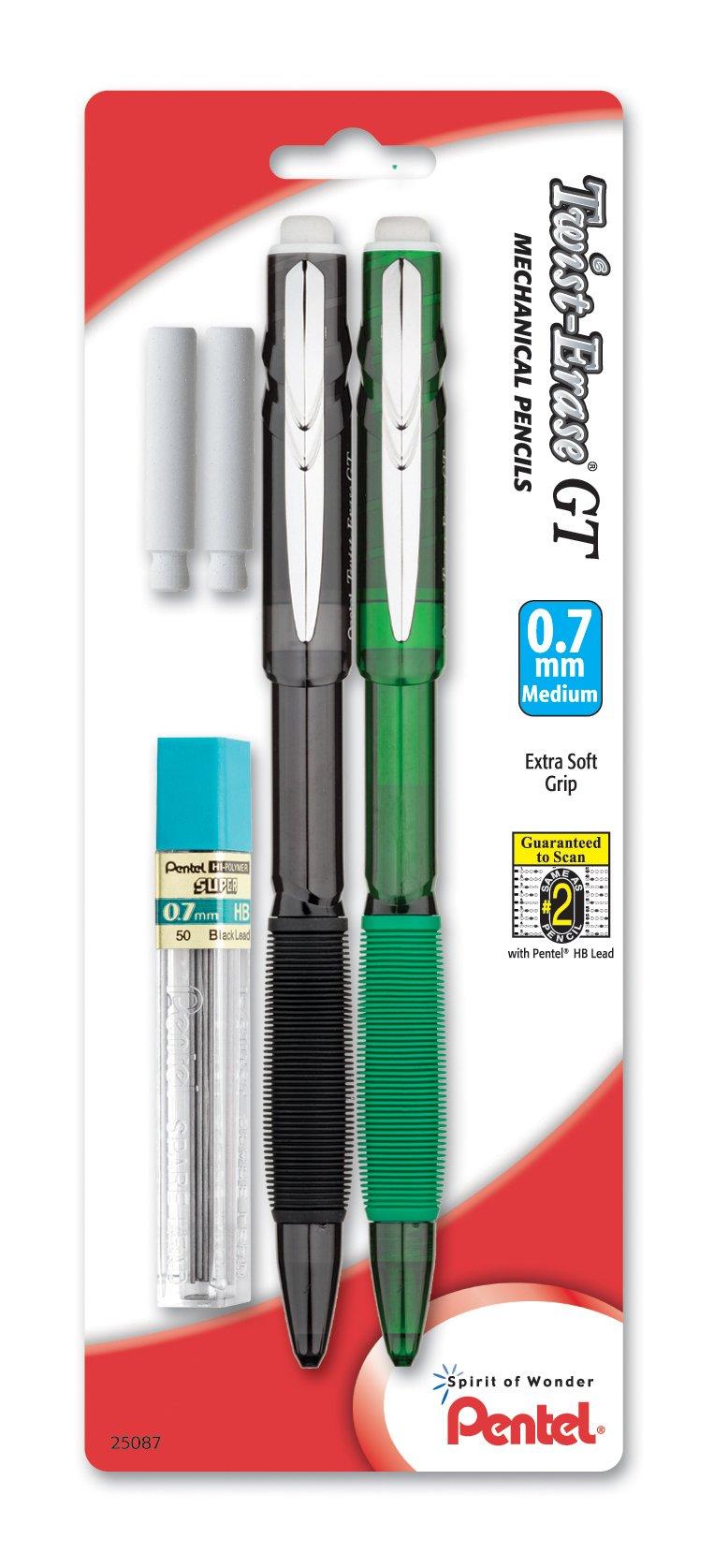 Pentel Twist-Erase GT (0.7mm) Lapiz Mecanico, Lead, 2 Era...
