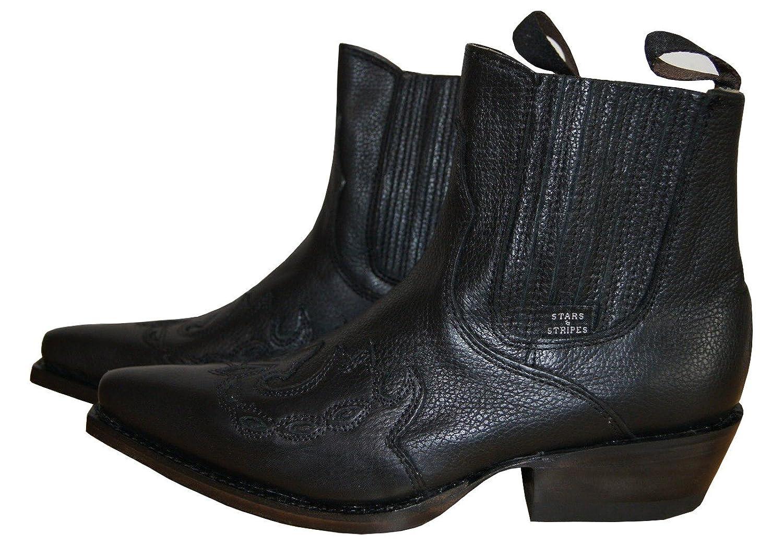 STARS & STRIPES Stiefelette Schwarz Cowboystiefelette Echtleder Unisex WB 08,  Schuhgröße:39: Amazon.de: Schuhe & Handtaschen