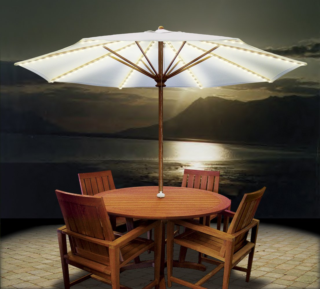 Blue Star Group Brella Lights - Patio Umbrella Lighting System With Power Pod & 6 Rib, White