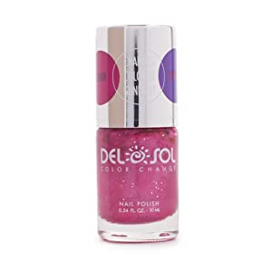 Del Sol Color-Changing Nail Polish - Hottie! - Changes Color from Pink to Purple in the Sun - Quick dry, 5-Free Nail Lacquer - .34 fl oz/ 10mL