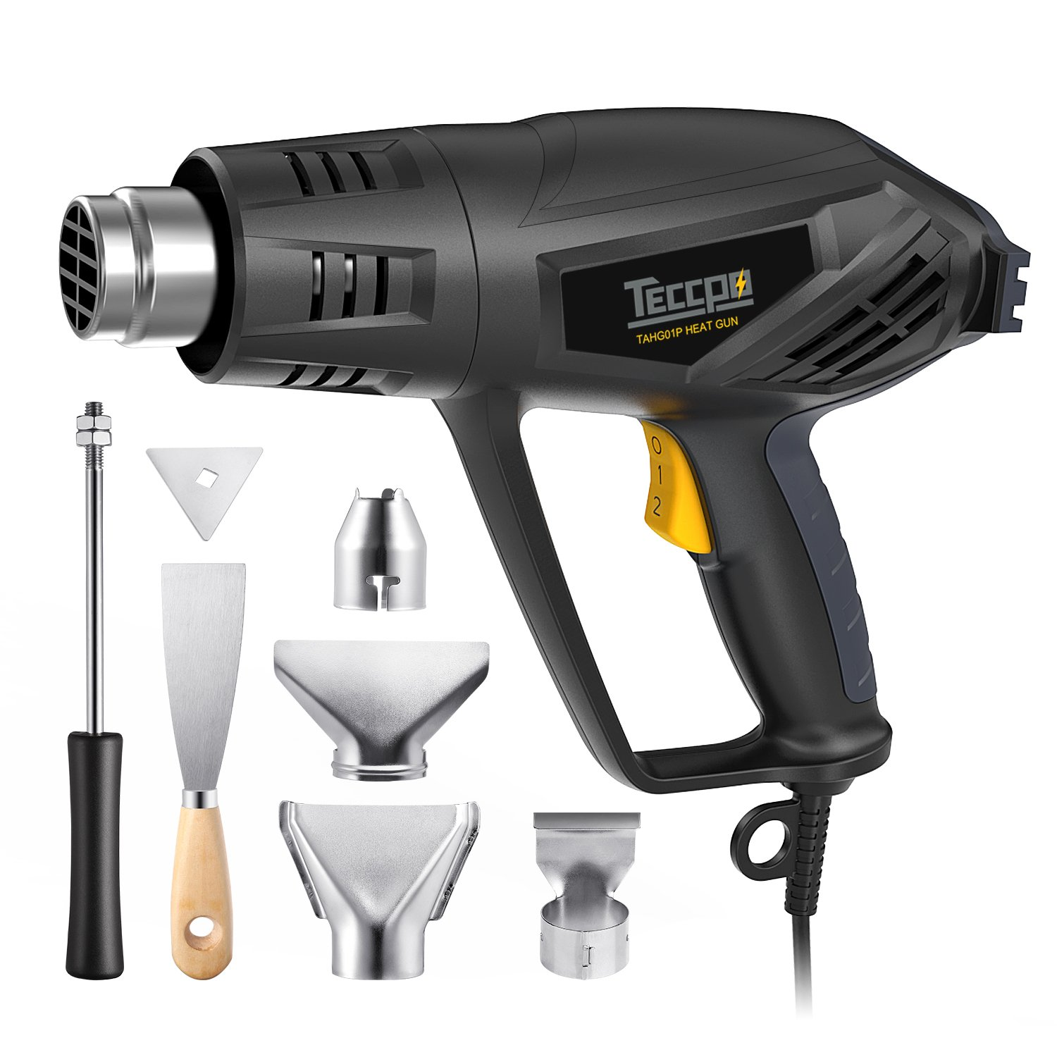 Heat Gun, TECCPO 1500W Electric Hot Air Gun with 3-Temp Mode 0℉~1022℉ for Crafts, Shrink Wrapping, Tubing and Paint Remover, 6 Stainless Steel Accessories Included