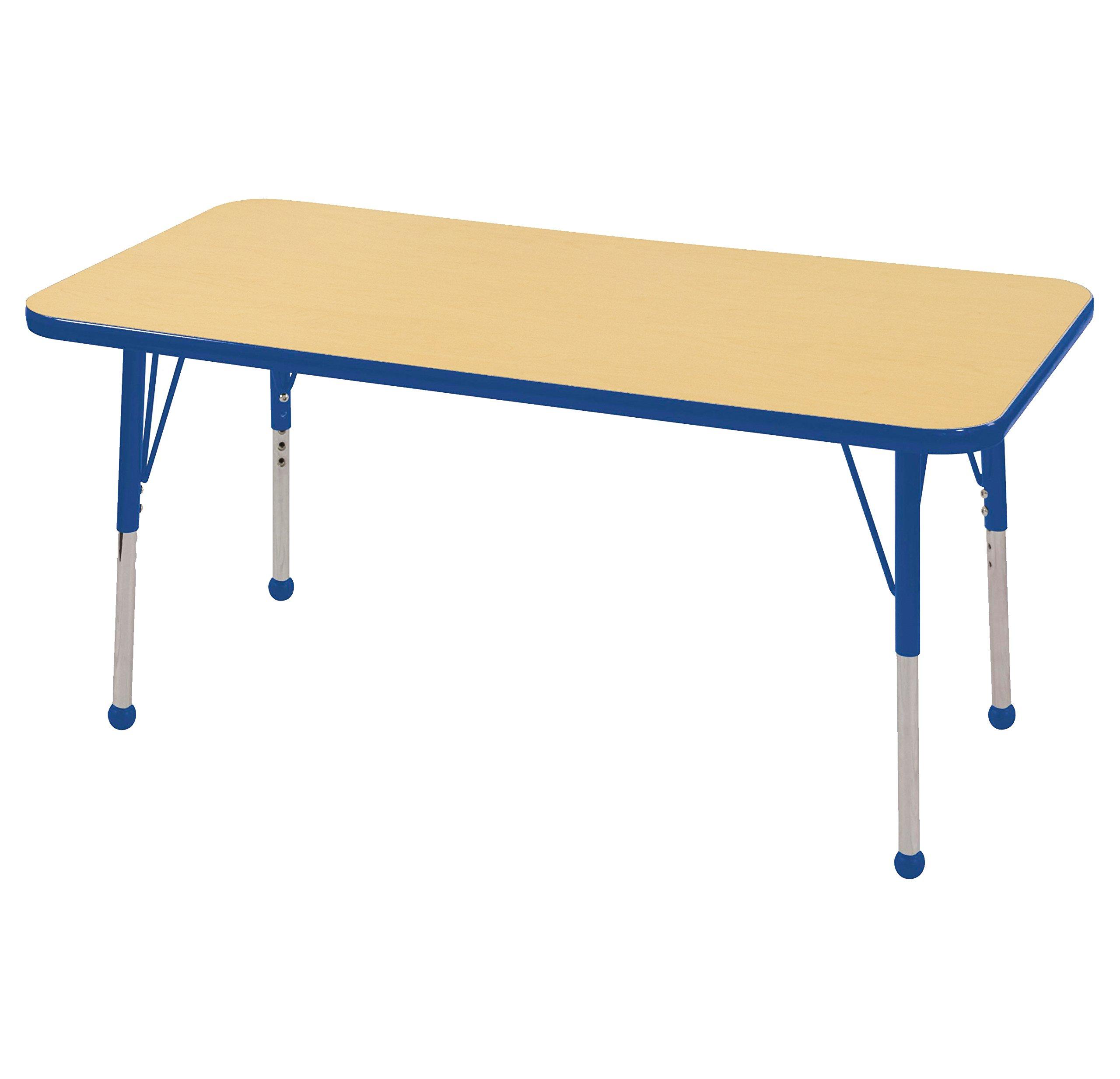 ECR4Kids Mesa T-Mold 24'' x 48'' Rectangular School Activity Table, Standard Legs w/ Ball Glides, Adjustable Height 19-30 inch (Maple/Blue)