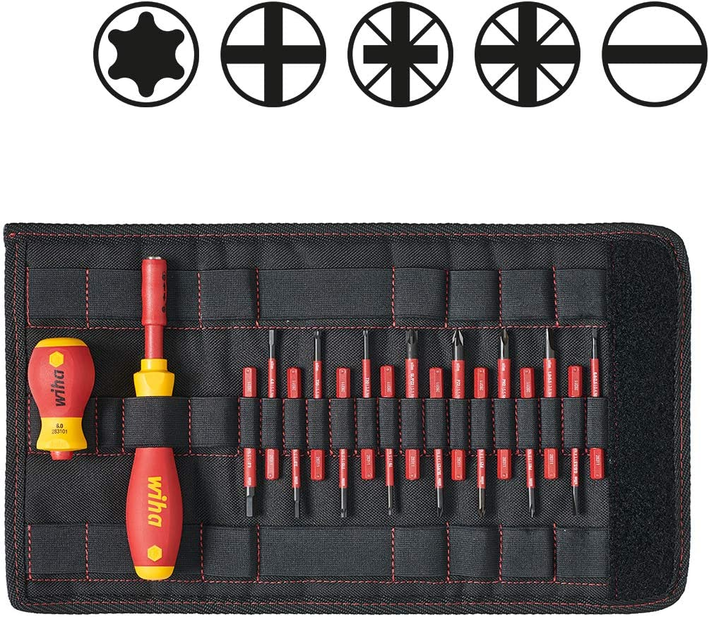 VDE Insulated, 18 Pieces HEX with Stubby in bag STAR SL//POZI WIHA 2831T18 slimVario Screwdriver and Bits Set POZIDRIV SLOTTED 41231 PHILIPS