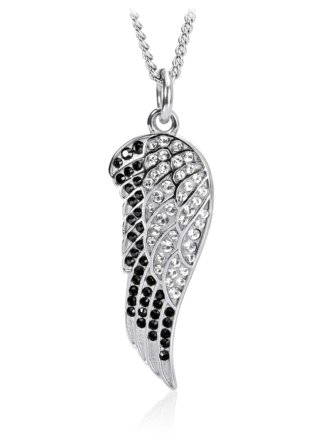 1085400ec4016 Amazon.com: Women's Stainless Steel Angel Wing Necklace Accented ...