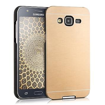 kwmobile Funda para Samsung Galaxy J5 (2015) - Carcasa Protectora de [Aluminio] para móvil - Case [Trasero] [Dorado]