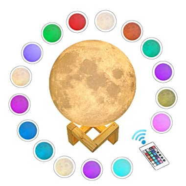 Gahaya 16 Colors 【Seamless】 Moon Lamp, 【Remote】 & Touch Control, Unibody Forming 3D Printed, PLA material, USB Recharge, Diameter 7.1 /18cm