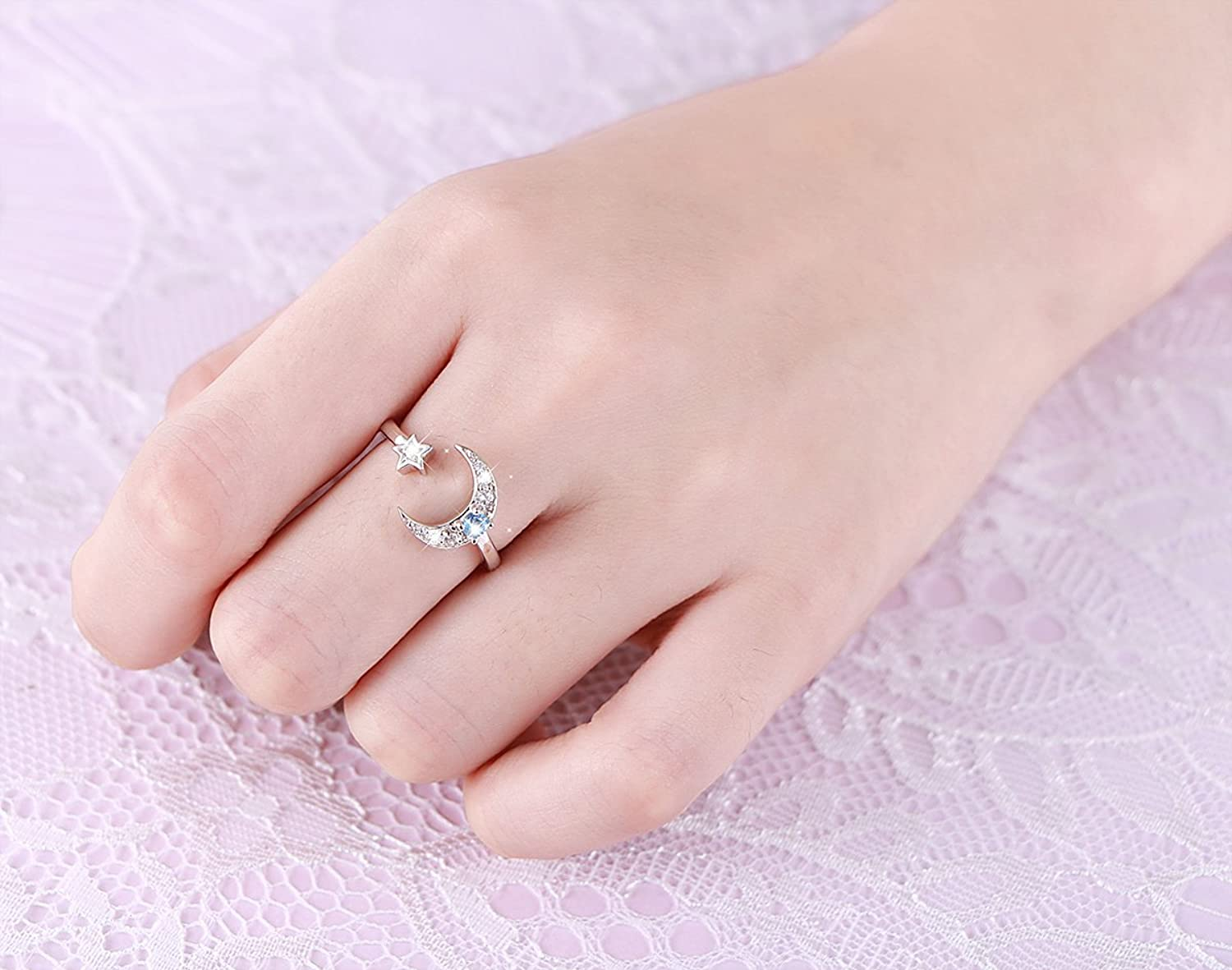 Amazon.com: 925 Sterling Silver Cz Moon Star Open Ring for Women ...