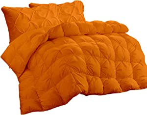 Basics Decor Luxurious All-Season   5 Piece Down Alternative Pinch Pleated Comforter Set   1000 TC Cotton   Set King/California King Sized 94 by 104 inch   Orange Solid