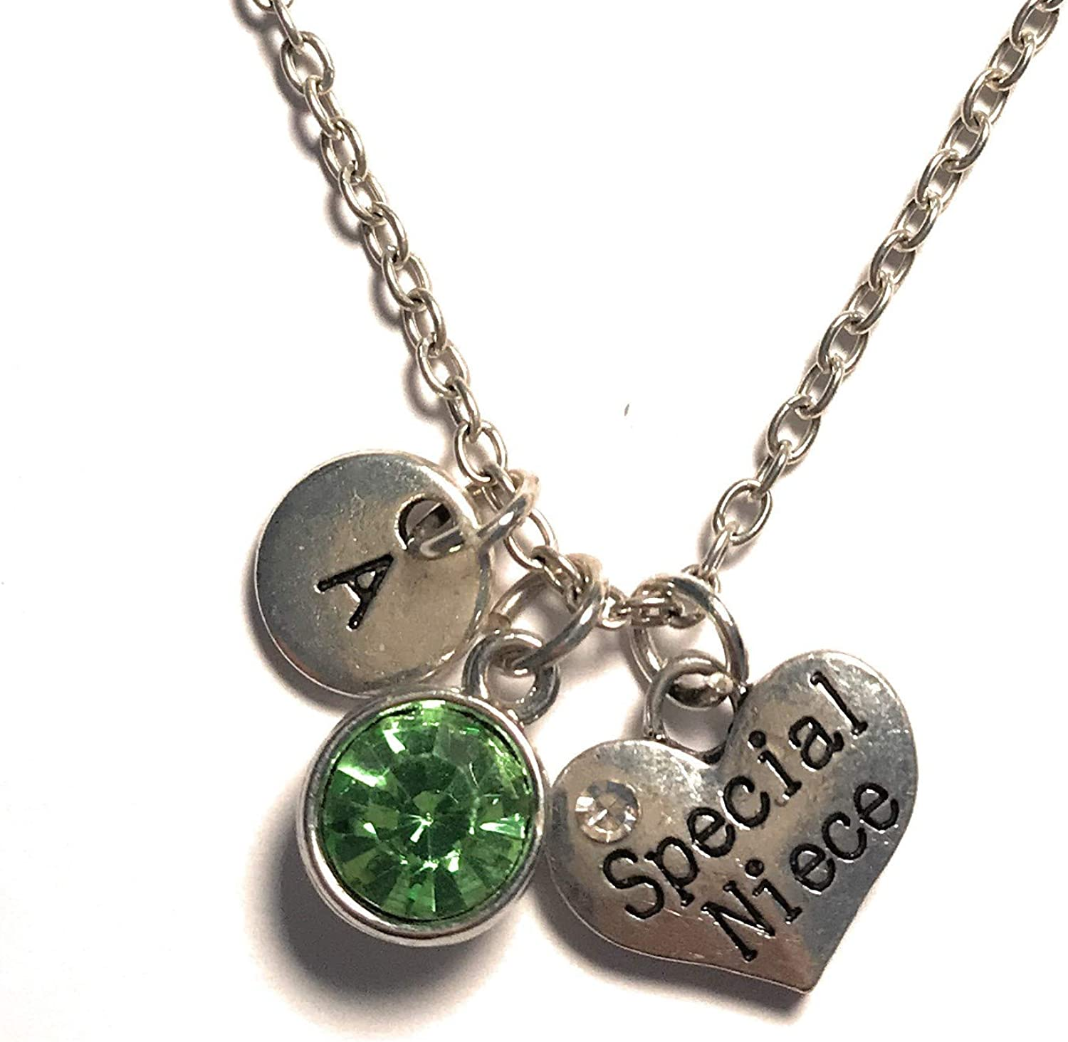 Special Niece Necklace Initial Letter Birthstone Silver Charm Pendant Customized Jewelry Gift
