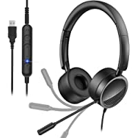 USB Headset with Noise Cancelling Micphone New bee 3.5mm/Computer Headset with in-Line Call Controls Office Headset Call…