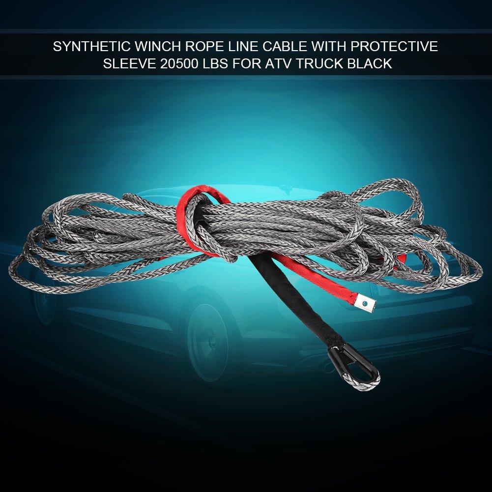 GOTOTOP 20500lbs Cable de Treuil Remorquage Nylon synthé tique 10mm*27m Douille Protectrice Voiture Camion (10mm*27m)