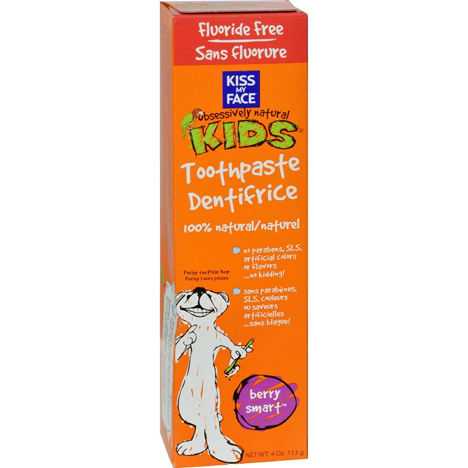 Pack of 2 x Kiss My Face Kids Toothpaste Fluoride Free Berry Smart - 4 oz S0456822N2PK
