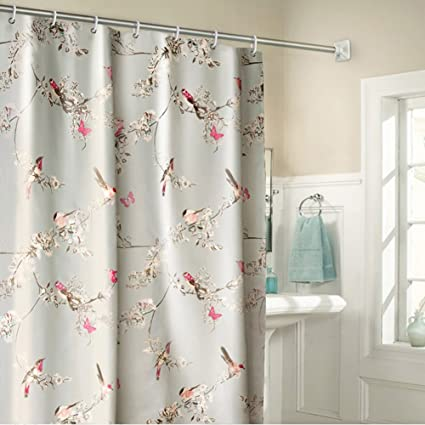 Uniuooi Bird Shower Curtain Mould Proof Resistant Waterproof Machine Washable 100 Polyester Fabric