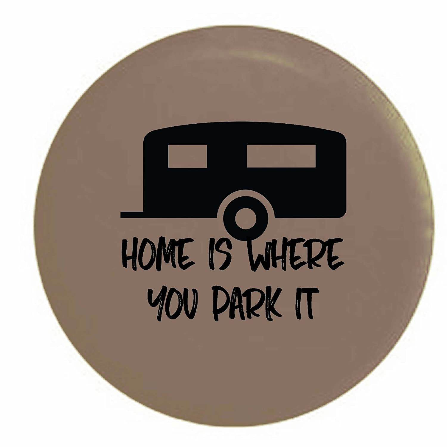 Home is Where You Park It Camper Spare Tire Cover OEM Vinyl Tan 27.5 in Pike Outdoors