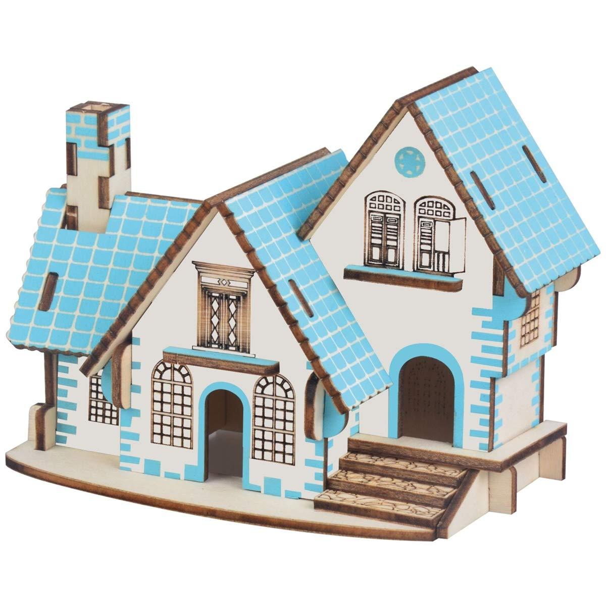 LSQR DIY Holz 3D Jigsaw Handmade Handmade Handmade Puzzle Toys, Colorful Power Blue House Dreidimensionales Simulation Bildungsmodell, Kinder Geburtstag ac5668