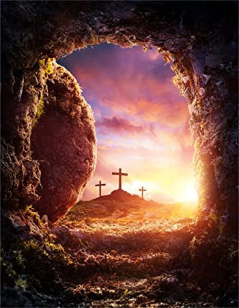 Amazon Com Aofoto 7x9ft Crucifixion Resurrection Of Jesus Christ Backdrop Salvation Cross Photography Background Tomb Cave Sunrise Glimmers Of Hope Photo Studio Props Bible Pray Christian Church Play Wallpaper Camera