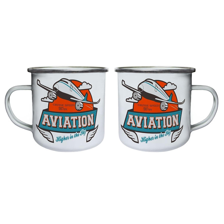 Enamel 10oz Mug aa980e Aviation Higher in The Sky Cruise Aeroplane Retro,Tin
