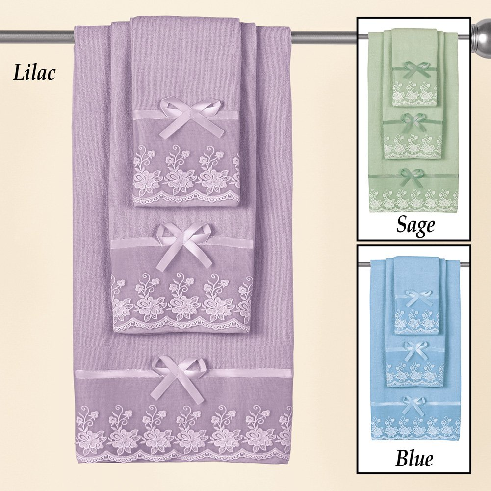 Amazon.com: Collections Etc Lace Trim Decorative Display Bath Towel Set with Ribbon Bows - 3pc. Set, Lilac: Home & Kitchen