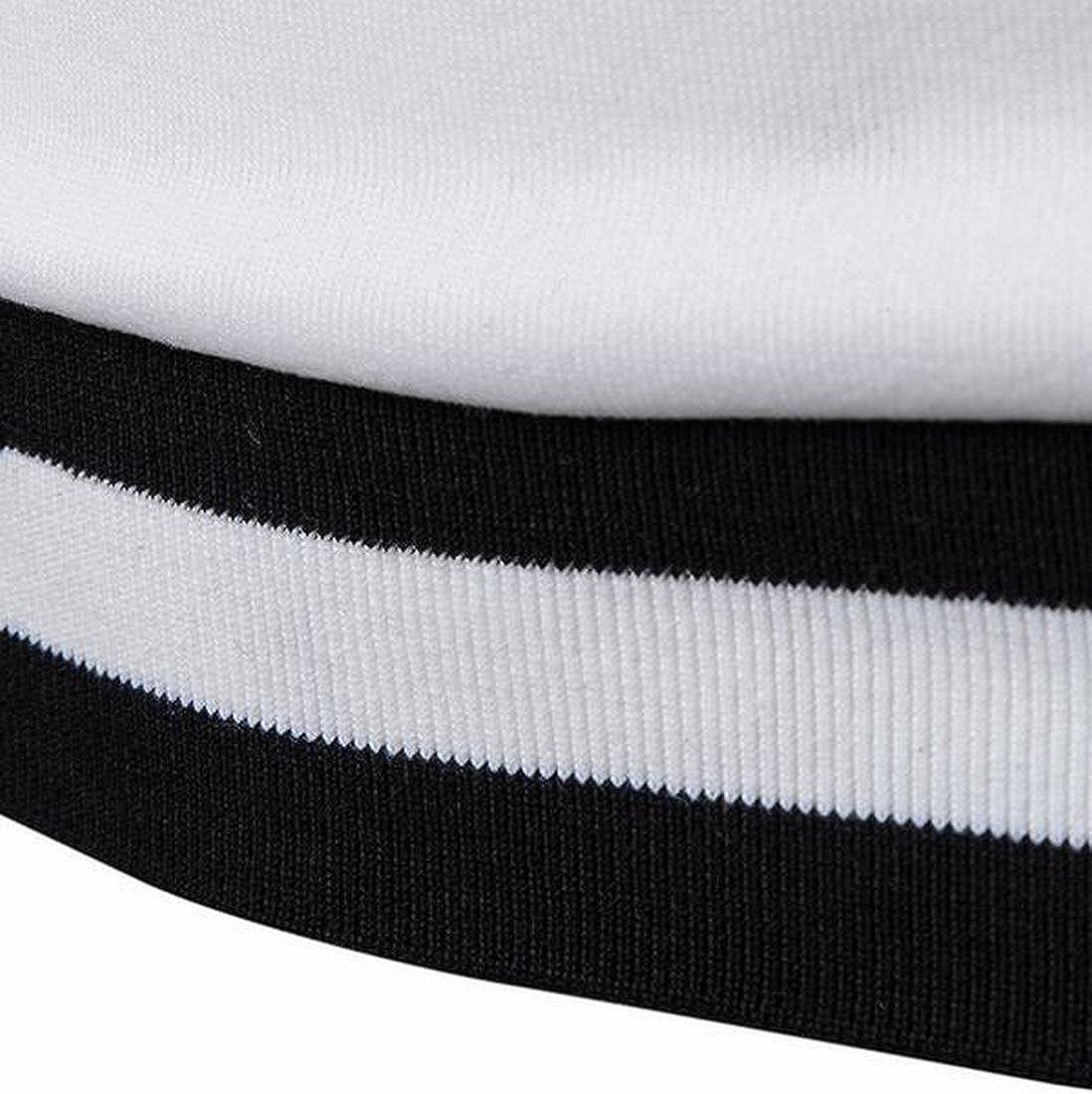Generic Mens Stripe Long Sleeve V Neck Slim Fit Sweatshirt Pullover