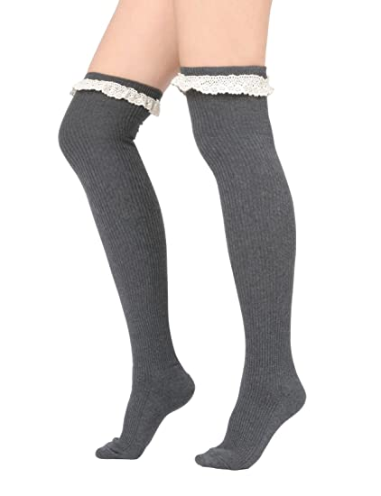 ef834009a79 Women Lace Trim Ribbed Cotton Knit Over the Knee High Socks (One Size   XS  to M