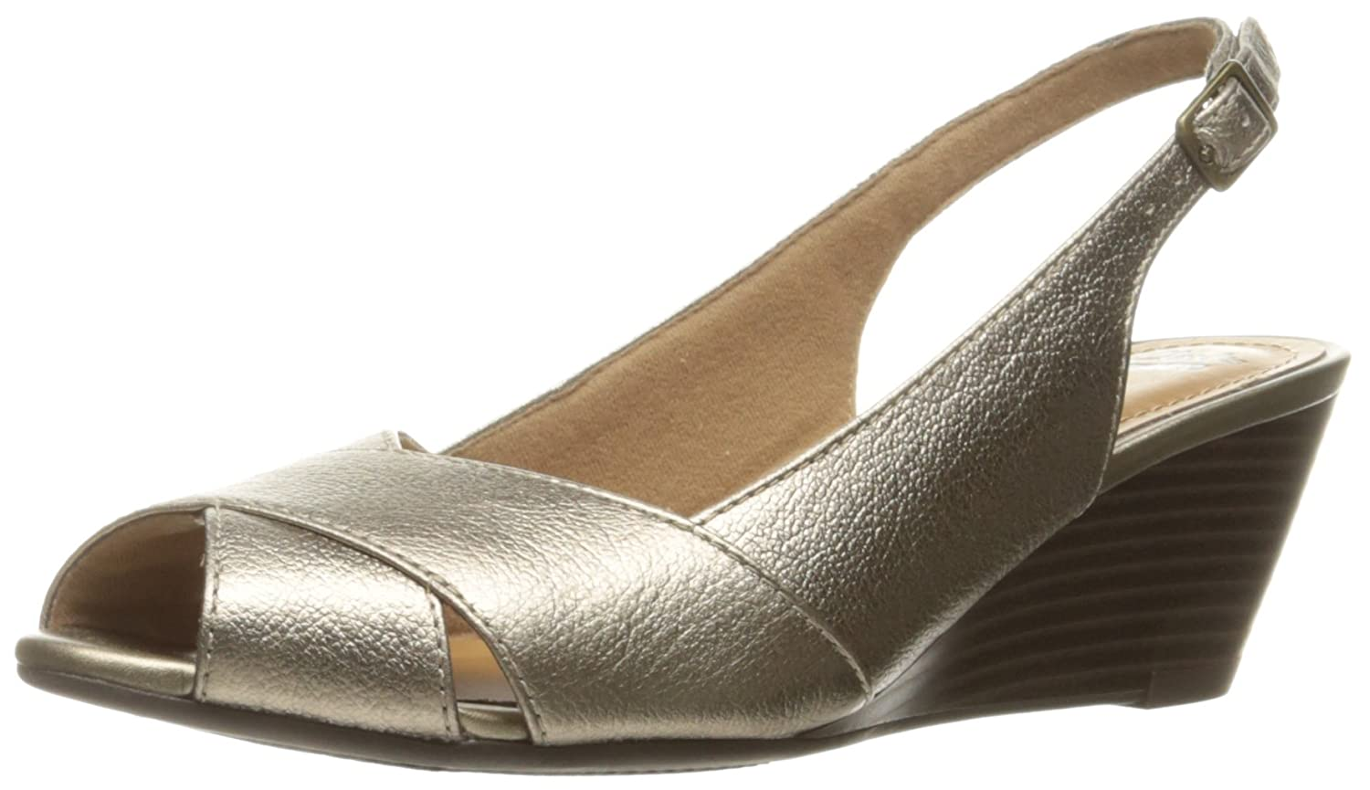 CLARKS Women's Brielle Kae Wedge Pump B01G4SR09K 10 W US|Metallic Leather