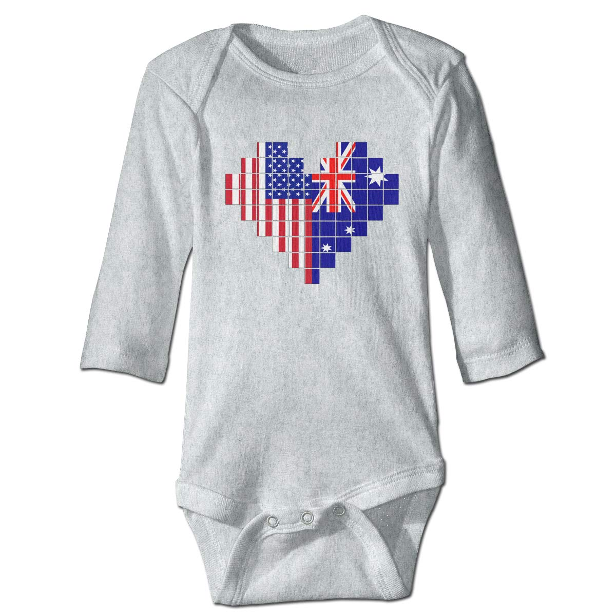 A14UBP Baby Infant Toddler Long Sleeve Jumpsuit Romper American Flag Australian Flag Puzzle Heart Playsuit Outfit Clothes