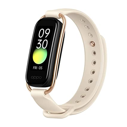 """[Apply coupon] OPPO Smart Band Style (Vanilla) - 1.1"""" AMOLED Color Display, Continuous SPO2 Monitoring (Blood Oxygen), 5ATM Water Resistant and 12 Workout Modes (Android Compatible Only)"""