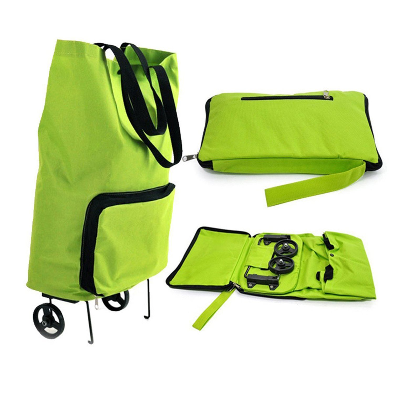 Trolley Dolly roue Shopping sacs fourre-tout réutilisable pliable à roues Panier panier Soft-Shell fourre-tout avec roues réutilisable sac d'épicerie épicerie plage de pique-nique (vert) Rkw5JrE5n