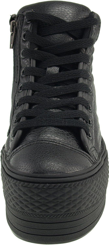 Maxstar Womens C50 Padded Lining Hidden Heel Platform PU Sneakers