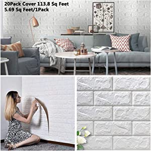 Arthome 20 Pack 113 Sq.ft White Brick 3D Wall Panels Peel and Stick Wallpaper for Living Room Bedroom Background Wall Decoration (White,Covers 113 Sq.ft)