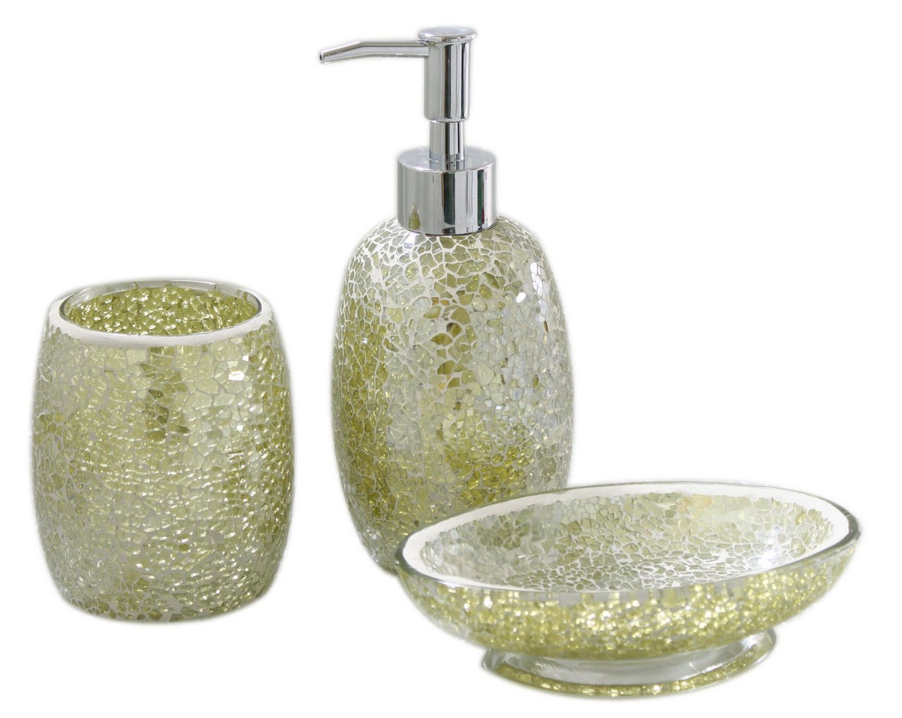 3pc Modern Pistachio Green Sparkle Mosaic Glass Bathroom Accessory Set  Decoration: Amazon.co.uk: Kitchen U0026 Home