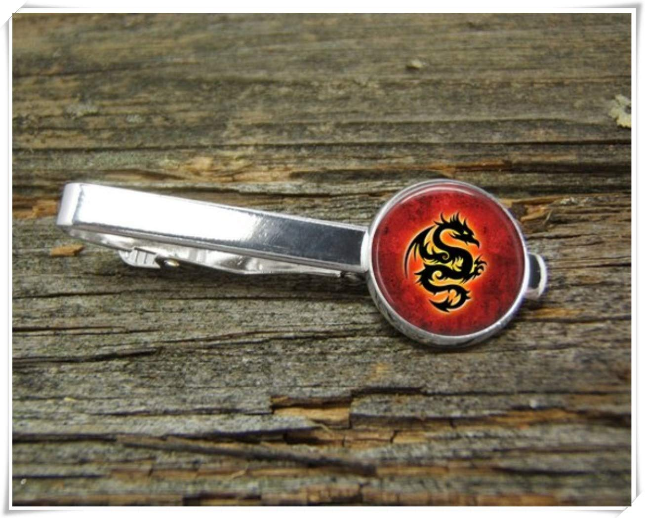 Fashion cool jewelry Dragon Tie Clip, red Tie Clip,Man Gift,Dome Glass Ornaments, Pure Hand-Made