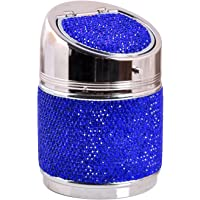 Car Ashtray Multi-Function Car Auto Glitter Ashtray Metal Cigarette Ash Holder Bling Holder Cup with Lid Smokeless Car…