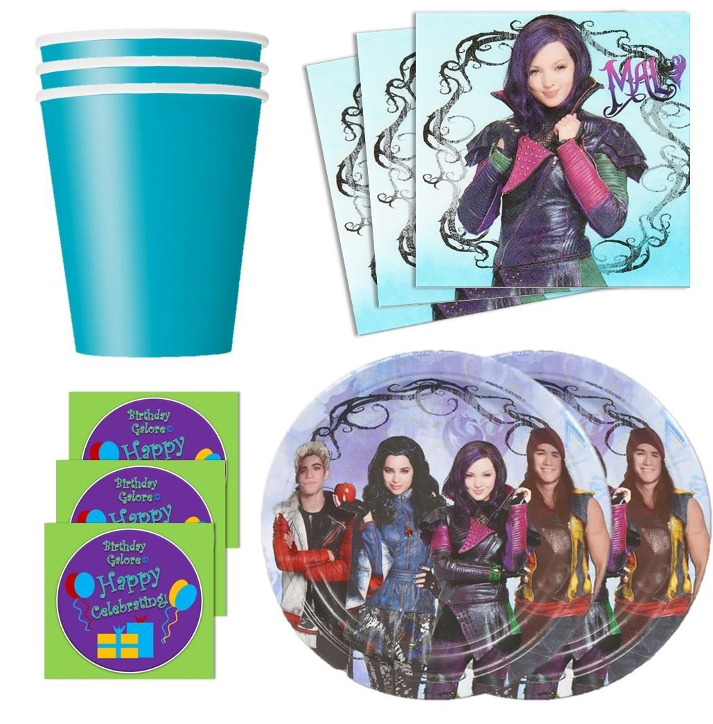 Descendants Birthday Party Supplies Set Plates Napkins Cups Kit for 16 Plus Stickers by Designware