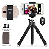Phone tripod, UBeesize Portable and Adjustable Camera Stand Holder with Bluetooth Remote and Universal Clip for Cell Phone,Digital Camera, GoPro