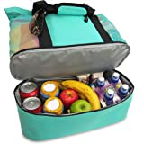endosy Aruba Mesh Beach Tote Bag, Multi-function Picnic Beach Bag With Zipper Top And Insulated Picnic Cooler Bag For Travel Swimming Camping