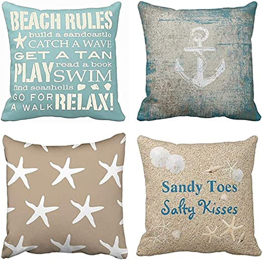 Amazon Com Emvency Set Of 4 Throw Pillow Covers Beach Starfish Words Rules Holiday Summer Nautical Anchor Distressed Taupe Decorative Pillow Cases Home Decor Square 18x18 Inches Pillowcases Home Kitchen