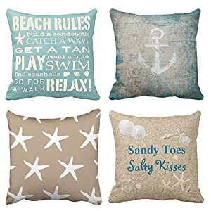 Emvency Set of 4 Throw Pillow Covers Beach Starfish Words Rules Holiday Summer Nautical Anchor Distressed Taupe Decorative Pillow Cases Home Decor Square 16x16 Inches Pillowcases