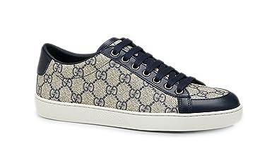 b6d42b49c0b Amazon.com  Gucci Men s GG Supreme Canvas Lace-up Trainer Sneaker ...