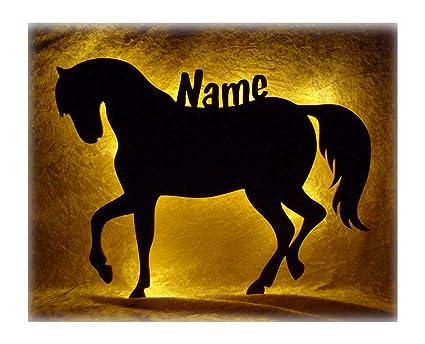 Schlummerlicht24 3d Led Nacht Licht Pferd E Mit Name Personalisiert