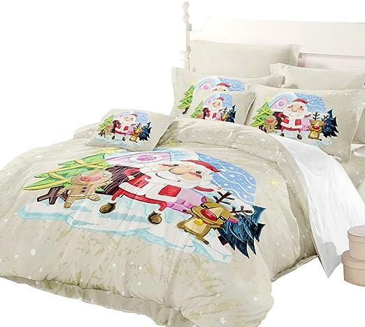 Luxury Cartoon Elk Ball Print Duvet Quilt Cover Pillowcase Set for Comforter