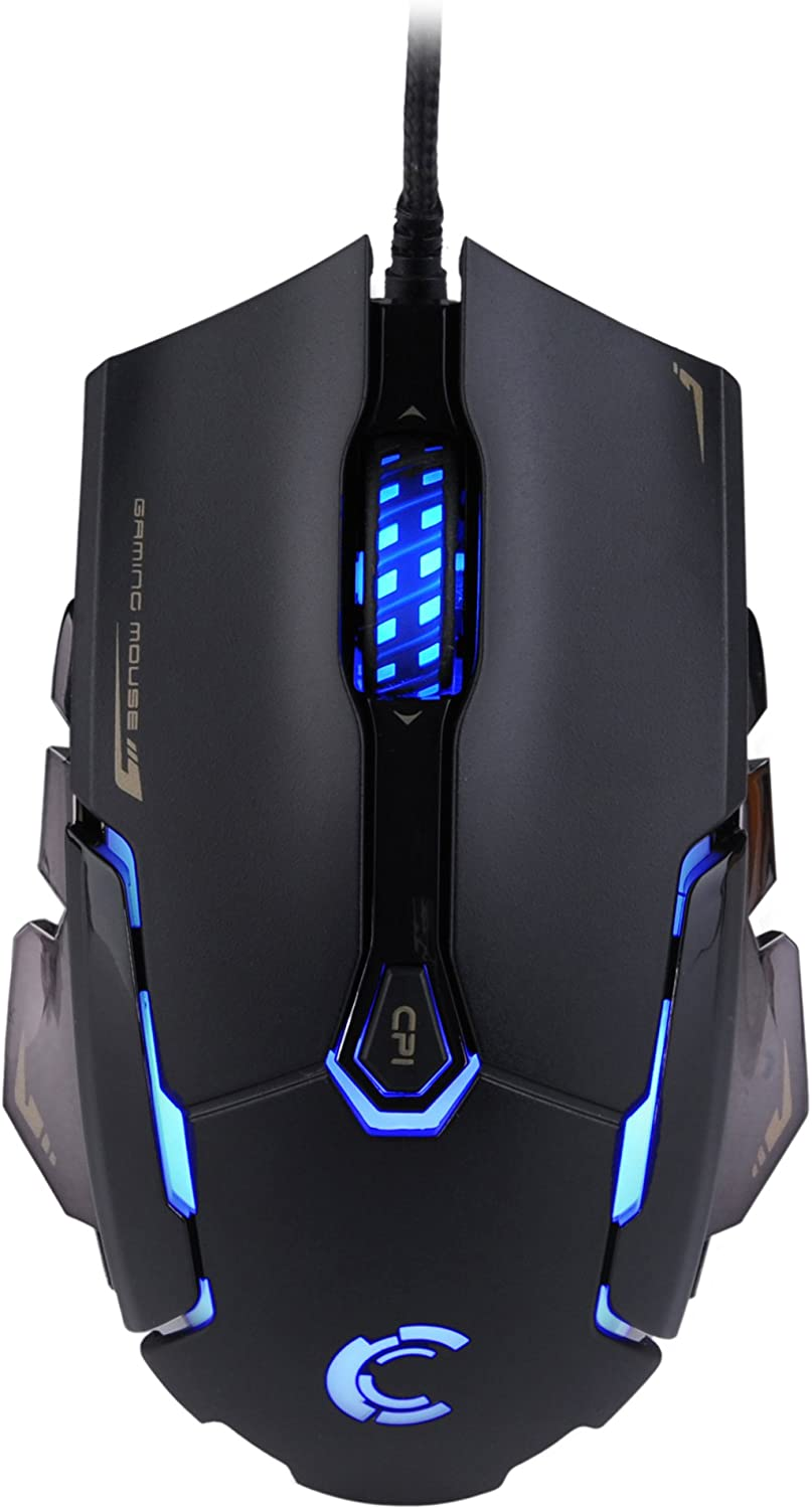 Comanro DM004 LED Rainbow Breathing Color 6 Buttons USB Wired Gaming Mouse for Pro Gamers with Micro Switch(DPI 500/1500/2000/3500)